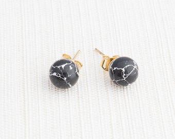 Black Howlite Earrings, Black Marble earrings