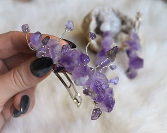 Amethyst Crystal Hair Barrette, Purple Quartz Hair Clip