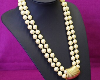 Black Rhino Design Two Strand Large Vintage Cream Faux Pearls Matt Gold Tone Ribbed Centre Collar Gold Tone Spacer Beads Small Extender