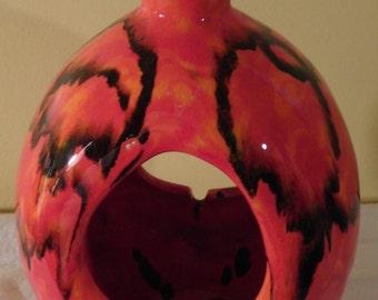 Vintage Hanging Lantern Hanging Ashtray 1970s Flame Orange Swirl Ceramic