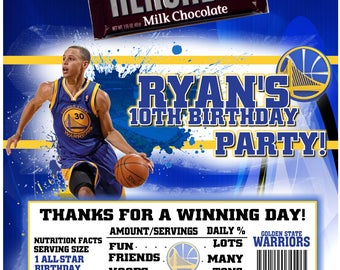 Golden State Warriors Basketball Candy Bar Wrappers Baby Shower or Birthday 1.55 oz. Hershey's Chocolate Nestle Crunch Stephen Curry