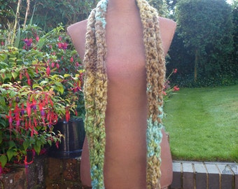 Chunky hand-knitted long green brown cozy wrap-around cowl / loop scarf