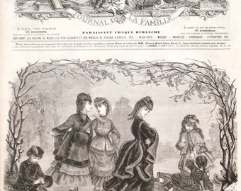 1872 victorian fashion print - Girls dresses, women, ladies gowns, wall decor - 145 yr old vintage French engraving illustration (C389)