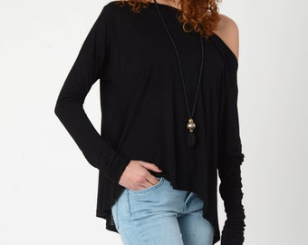 Black Tops, Long sleeve Top, Boat Neck Top, Oversize Wide Neck Shirt, Women's Loose Black Blouse, Black Women's Tops, Off Shoulder Blouse