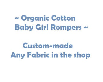 100%  Organic Baby Girl Romper, Baby Rompers, Bubble Romper, Sunsuit, Playsuit, Baby Outfit, Baby Romper, Baby Girl Clothing, Organic Baby