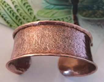 Hand Forged Copper Textured Cuff Bracelet