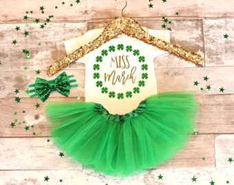 Baby Girl Clothes Miss March Baby Girl St.Patricks Day Tutu, Baby Girl St. Patricks Outfit, Baby girl St. Patricks Bodysuit