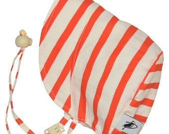 Infant's Sun Protection Bonnet - Organic Cotton Print in Sailor's Stripe (newborn, 3 month, 6 month, xxs)