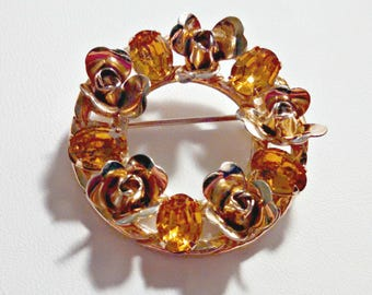 Vintage Circle Pin Brooch, Gold Tone Roses with Topaz Rhinestones, Mid Century, Circa 1960s, Includes Gift Box