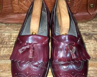 Vintage Dexter Wingtips Kiltie Tassel Loafer Dress Shoes Oxblood Burgundy Leather Men's Size 9.5 EE--Made in the USA