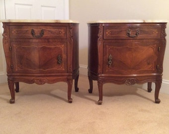 Delightful Antique Pair Of Marble Top Cabinet End Table Night Stands Louis XV French  Italian Marquetry Cabriole