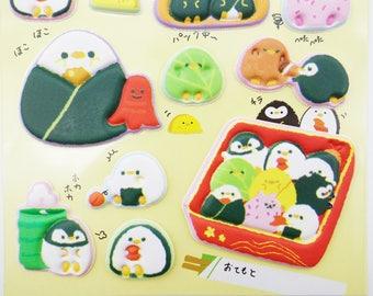 SUPER PUFFY Japanese kawaii bento box penguin stickers! kawaii onigiri stickers, cute food stickers, animal crossover, cute puffy stickers