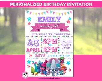 Troll Birthday Invitation, Personalized Invitation, Printable DIY, double sided, personalized invite, troll movie, 5x7 diy, Trolls