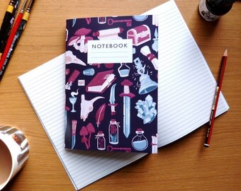 Fantasy pattern notebook - Lined or plain paper  |  sketchbook  |  D&D / RPG notebook | potions, magic, swords and scrolls |