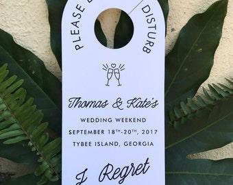 WEDDING DOOR HANGERS / Do Not Disturb Sign / Wedding Hangover Kit / Personalized Door Hanger / Custom Door Hangers / Set of 10