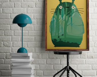 Totoro poster, My neighbor Totoro art, Alternative movie poster, gift for manga lovers