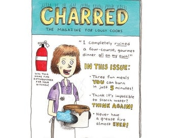 Cooking Cartoon, Beginner Chef Gift, Funny Cooking Gift, Magazine Cover, Chef, Kitchen Wall Art, Housewarming Gift, Cooking Art, Chef Humor