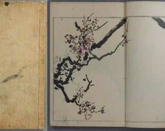"1890, Japanese vintage woodblock print book ""SEITEI KACHÔ GAFU #2"" , Meiji-era, flowers, birds"