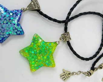 Resin Star Pendant with iridescent glitters - Star Necklace with faux leather braided string