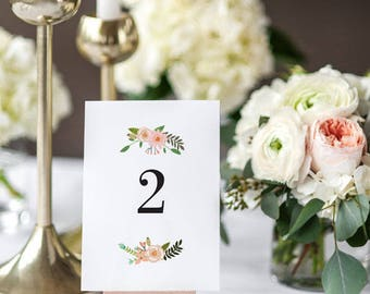 Printable Table Number Cards - Floral Design Table Signs - Wedding Table Numbers Printable - Wedding Reception - 1 to 20 - (Item code: P213)