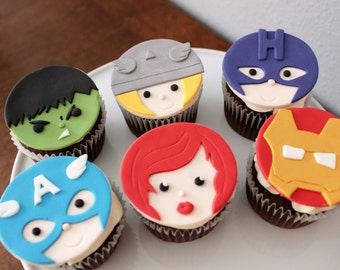 1 dozen Marvel edible fondant cupcake toppers/ Marvel birthday party/ superhero party/ party supplies/ 100% edible and handmade