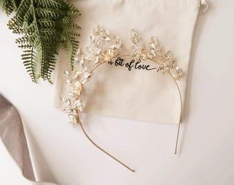 Bridal Crown Flower Crown Flower Bridal Crown Gold Crown Silver Crown Wedding Crown Bridal Tiara Bridal Headband Flower Headband #180
