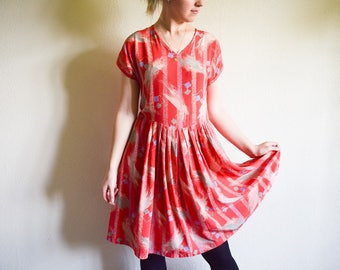 Vintage Silk Dress, 80s Coral Dress With Pleats, Loose Boho Summer Dress Large