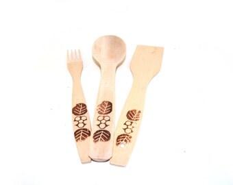 Set spatulas, wooden fork, wooden spatula set, wooden spoon, kitchen Cutlery wood, hand carved wooden spatula,