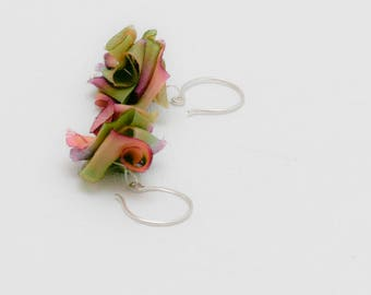 Hand Dyed Silk Sterling flower earrings: Green Rose Purple | Handmade | French wire Gifts for Bridesmaids Grads Moms Teens Made In Hudson NY