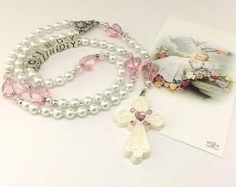 Personalized Rosary. Baptism Rosary. White and Pink Baby Rosary. Christening Rosary. Catholic Rosary. Catholic Gift. Holy Rosary. #R19