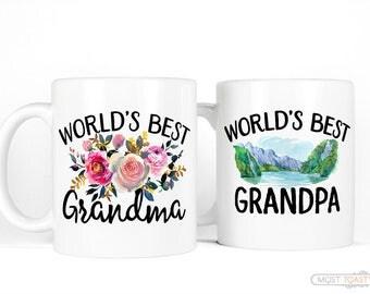 Grandparent Mugs Set | New Grandparent Gifts-for Grandparent Announcement-Worlds Best Grandma and Grandpa Coffee Mug Set-Anniversary Gift