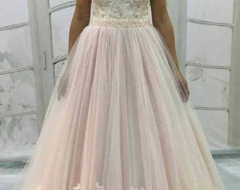 Blush Light-As-Air Vintage Inpired Blush wedding dress,Tulle Skirt with lace flowers,Lace Back with Buttons,corset with lace flowers