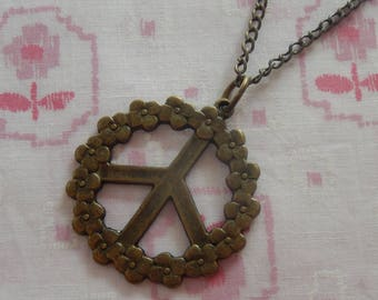 Antique Plated Flower Power Peace Sign Pendant Necklace