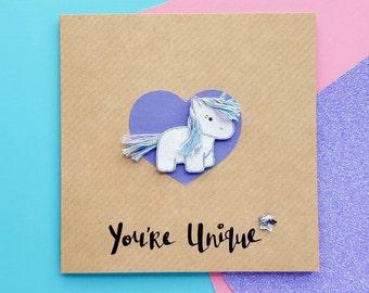 Handmade Glitter Unicorn Card   Personalised Unicorn   Cute Unicorn Cards, Kawaii Birthday Card, Cute Unicorn Birthday Card   Cards for Her