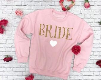 Bride Sweatshirt. Wifey Sweatshirt. Wedding Sweatshirt. Bride to be Sweatshirt. Future Wifey Sweatshirt. Gold Writing Sweatshirt.