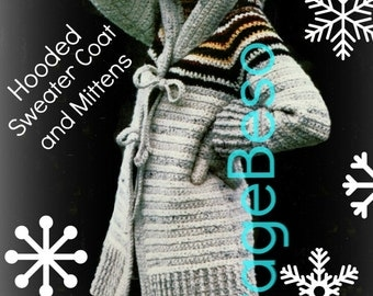 INSTANT DOWNlOAD - PdF Pattern - Coat Crochet Pattern Vintage 1970s HOODED Sweater Crochet Pattern + MITTENS Crochet Pattern Jacket Pattern