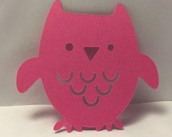 Hot Pink Die Cut Owl