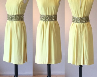 1960's Lemon Meringue Rayon Sheath Dress with Exquisite Rhinestone Detailed Waist | Karen Stark for Harvey Berin | Size Small