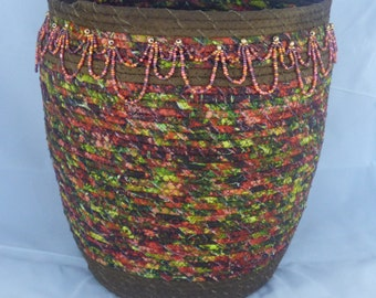 Fall Woods Coiled Fabric Basket