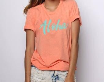 Aloha Shirt, Aloha Beaches, Summer Tshirts, Hawaiian Shirt, Beach Tshirt, Graphic Tees for Women, Surf Shirt