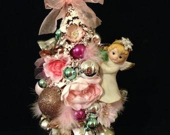 Vintage Pink Bottle Brush Tree~ Tabletop Christmas Tree Decoration, Mini Tree, Mercury Glass Beads, Vintage Angel Figurine, Cottage Chic