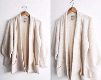 vintage cardigan with bishop sleeves / ivory sweater / ivory cardigan / ivory jacket / sweater jacket / oversized cardigan / size M