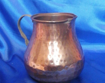 Vintage Hammered Copper & Brass Jug