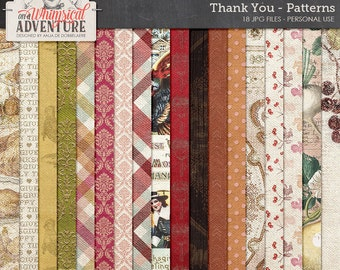 Thanksgiving digital scrapbook papers, digital download, 12x12 paperpack, holidays, backgrounds, turkey, patterns, family, damask, vintage