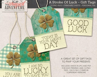 Saint Patricks Day printable tags, digital download, printable collage sheet, gift tags, labels, digital tags, spring, lucky, good luck tags
