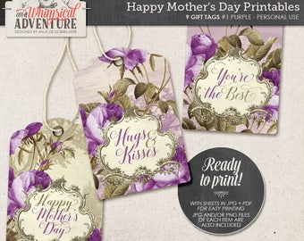 Mother's Day printable digital collage sheet instant download Happy Mother's Day gift tags vintage tag roses hang tags for gifts for friends