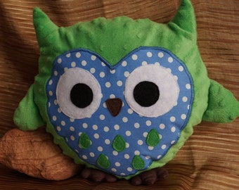 Stuffed Owl--Green fleece