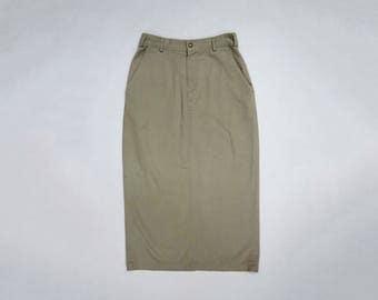 Calvin Klein Sport Khaki Midi Skirt // 90s Basic Khaki Midiskirt // Cotton Golfing Skirt // Highwaisted Skirt //Size 10