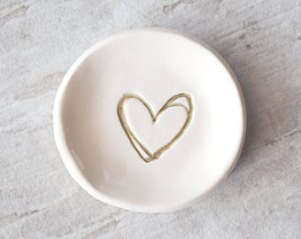 RING DISH party FAVOR ring tray personalized pottery gold silver heart, bridesmaids gift party favor, wedding ring plate, Ready to Ship Fast