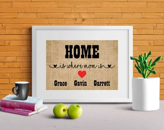 Home is where mom is sign, Mother's day gift - gift from Kids, Personalized Gift for Mom, Gift for Mum, Mother's day burlap print-2Q